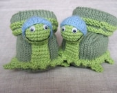 0-3 months hand knitted baby booties turtles-children clothing