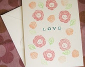 Roses - Hand stamped Valentine card