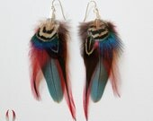 Feather earrings, macaw, peacock feathers, parrot earrings, rooster feathers, metallic blue, red feathers - Belle