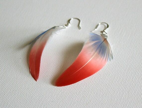 Pink feather earrings, Pastel blue feathers, Light blue, Flamingo feathers, Pink feathers, White, Delicate earrings, Rare - Soft Stroke