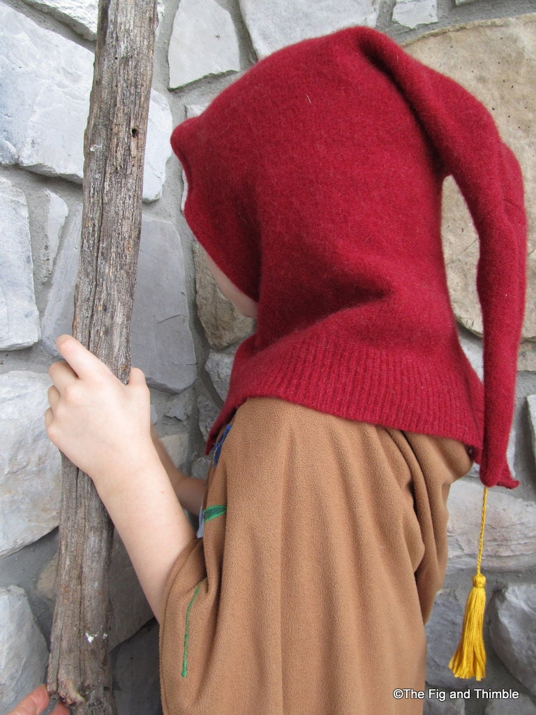 Red Upcycled Wool Dwarf Hood With Tassel By TheFigandThimble