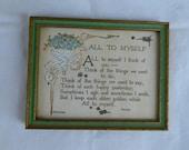 Antique Framed Poem All to Myself Forget-Me-Nots