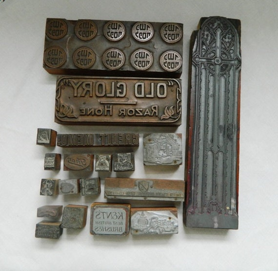19 Old Metal and Wood Letterpress Stamps Advertising