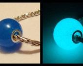 "Glow in the Dark Glass ""Aquamarine"" Lampwork Big Hole Bead, fits all European Style Charm Chains"