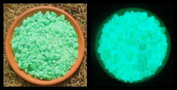 Glow in the Dark Glass 104 COE Super Snotty Ghostly Green I Handmade Glow Glass Frit Unsifted and all sizes glows Aqua in the dark by GlowJoe