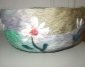lavender and green field of flowers, a needle felted wool bowl