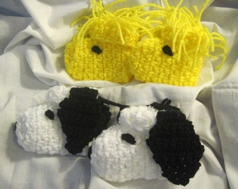 A Dog and His Best Friend (Snoopy and Woodstock) Crocheted Character  Baby Booties, slippers 12mo Size