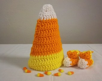 Halloween Newborn Crochet Candy Corn Hat with matching Baby Booties