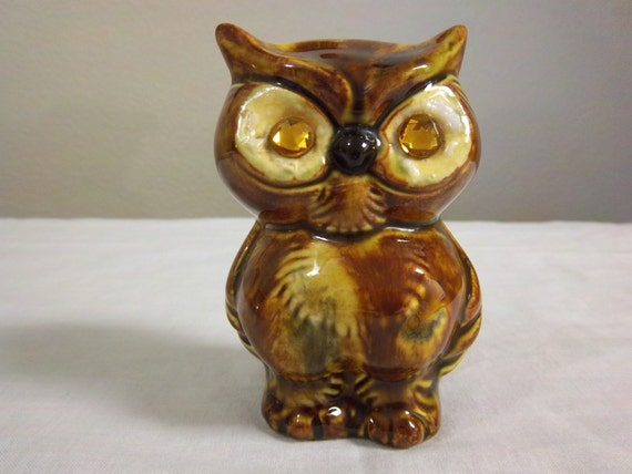 Vintage Golden Eye Porcelain Owl Figurine 60's 70's