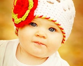 6-12 months Christmas Holiday Crochet Girls Beanie Hat, Baby Winter Hat, White Red Lime Green Flower Beanie Hat