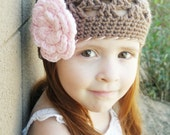 1 to 3T Crochet Girls Hat, Brown and Pink Flower Beanie Baby Hat, Newborn hat, Photography Prop
