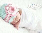 Baby Girl Hat, Newborn Girl Hat, Crochet Girls Hat, Baby Beanie, Crochet Baby Hat, Baby Hat for Girls, Baby Hat With Flower, Photo Prop