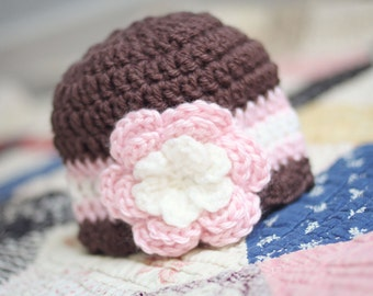 Newborn Hat, Girls Hat, Baby Hat, Baby Girl Hat, Newborn Girl Hat, Crochet Hat, Newborn Photography Prop, Chocolate Brown Pink Cream Hat