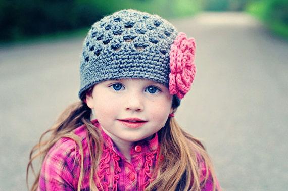 Crochet Girls Hat, Newborn Hat, Grey and Pink Flower Beanie Baby Hat, Photography Hat