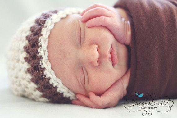 Newborn Boy Hat, Crochet Boys Hat, Newborn Boy Coming Home Hat, Baby Beanie, Brown Hat, Newborn Photo Prop, Boys Hat, Infant Hat