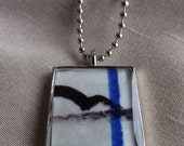 Blue and Black Abstract Horse Art Pendant