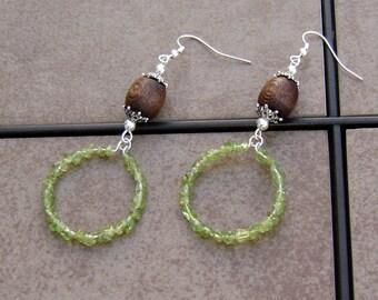 Peridot Glass Wood Beaded Silver Hoop Earrings