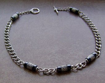 Men's Tibetan Silver Hematite Stone Bead Chain Necklace