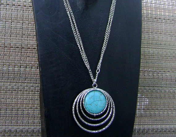 Turquoise Stone Pendant Double Chain Necklace