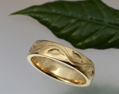 WEDDING BAND Leaf and Vine Design, 5.5mm, 14k yellow , rose or white gold