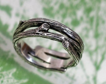 TANGLEWOOD Branch Wedding Band - a Natural Twigs and Branches Ring in Sterling Silver. Branch and Vine