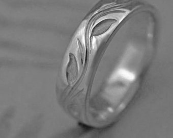 LEAF And VINE Wedding Band, in PALLADIUM - This ring priced in a woman's finger size