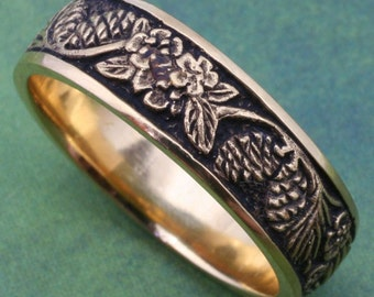 Wedding Band, PINE CONES and Forget-Me-Nots, Detailed carving in 14k white, rose  or yellow gold, Pine Band, Pine Ring