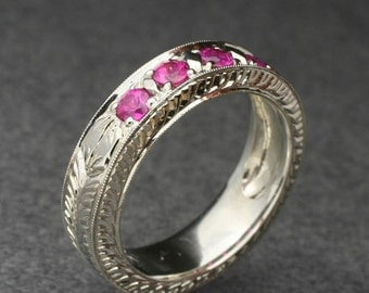 Fully Engraved Vintage Style Wedding Band with Pink Sapphire, in 14k White gold