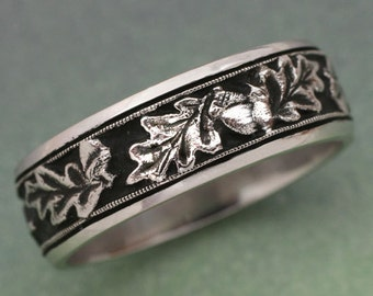 OAK LEAVES Wedding Band - made in 14k white , rose or yellow gold.  For men or women, Acorn Ring