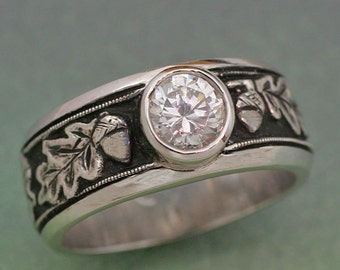 Womens OAK LEAVES Wedding Band.  14k white, rose or yellow gold with White Sapphire
