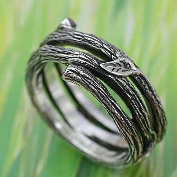 TWIG AND LEAF Band - Delicate Little Leaves. This ring in sterling silver