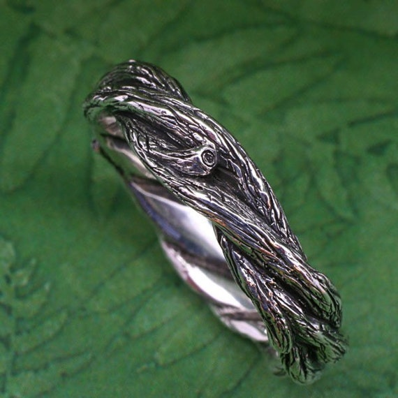 TWISTED TWIGS Wedding Ring.  This band made in Sterling Silver