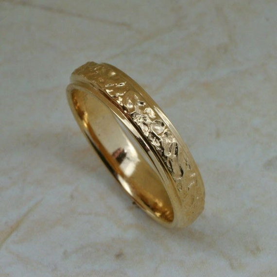 BARK TEXTURE Wedding Band, 4mm Width, in 14k Yellow  Rose or White Gold