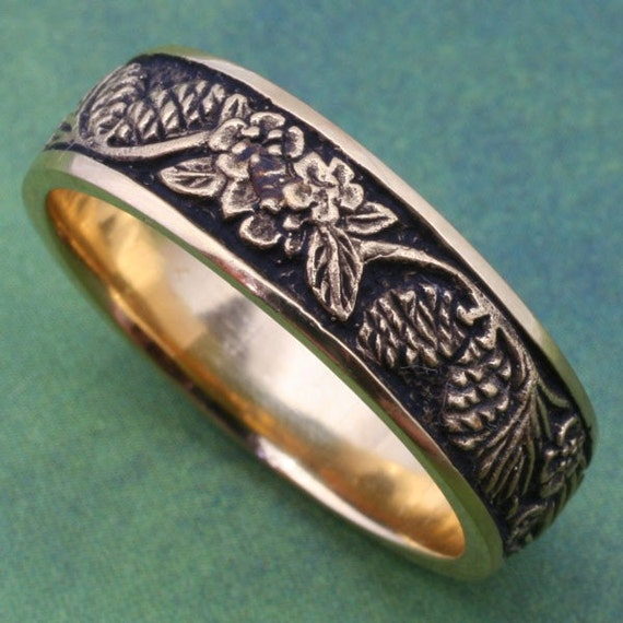 Wedding Band, PINE CONES and Forget-Me-Nots, Detailed carving in 14k white, rose  or yellow gold