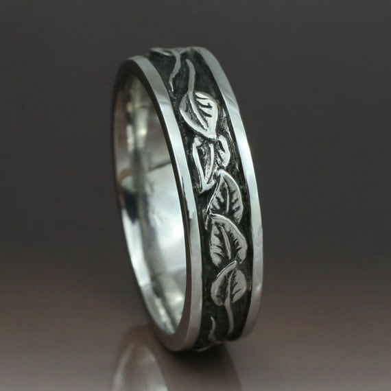 Circling Leaves Wedding Band 6mm Width This Ring In