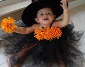 Halloween Witch Princess Tutu Dress with Matching Mum Flower Hair Clip - Size S