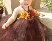 Pocahontas Daisy Flower Halloween costume Tutu Dress with Matching Daisy Flower Headband - Size S