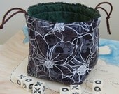 Reversible Drawstring Bag - Green and White Flower Print