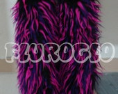 Multi-color Black, Pink and Purple UV rave fluffy legwarmers