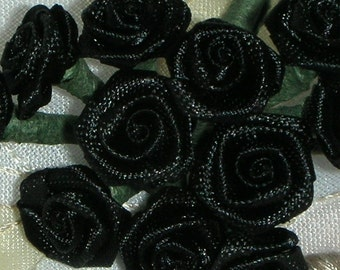 Black Roses, 12 fashion, 1 Dz. Flowers Millinary Steampunk Hair Decor