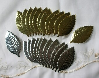 Silver & Gold Leaves, 24 Paper Foil Cutouts, New Vintage, Diecut Japan Scrap, for Mixed Media Art