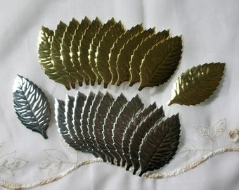 Silver and Gold Leaves, 24 Paper Foil Cutouts, Japan Scrap, for Mixed Media Art