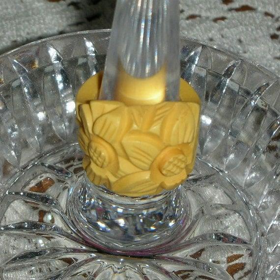 Yellow Bakelite Ring Deep Carved