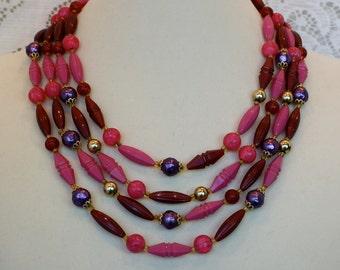 Vintage 50s Bead Necklace 4 strand Pink Cranberry Purple Plastic Bead Choker Germany