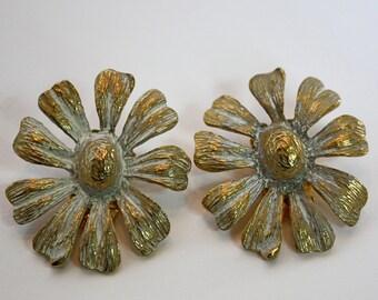 Vintage 60s Modernist Earrings Park Lane Goltone Metal Flower Earrings White Accents Clip Backs