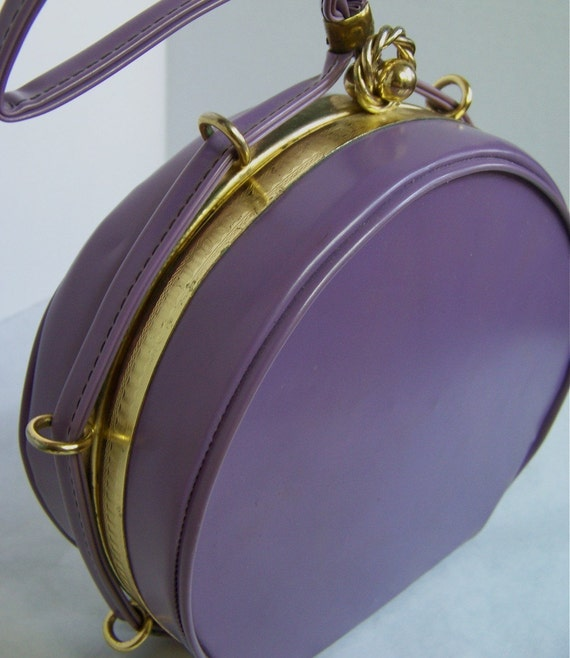 50s Vintage Darling Purple Round Tambourine Bag Box Purse with Matching Gloves