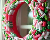 """READY TO SHIP - 14"""" Pink and Green Preppy Wreath"""