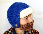 Bearded Beanie, Custom Color, Detachable, Adjustable, THE HUNTER kids size