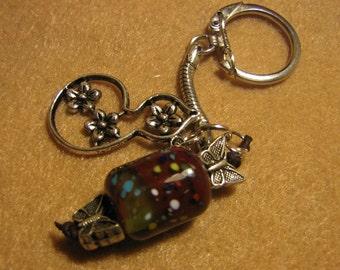 Butterfly Meadows, Lampwork Glass Bead Key Chain