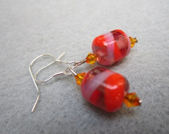 Lavendar Chillies, Lampwork Glass Bead Earrings